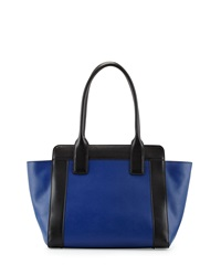 Charles Jourdan Fuller Leather Tote Indigo Blue Black