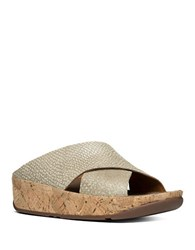 Fitflop Kys Tm Leather Wedge Sandals Silver