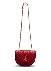 Saint Laurent Ysl Monogrammed Bubble Quilted Crossbody Bag Red