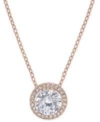 Danori Rose Gold Tone Round Crystal And Pave Pendant Necklace