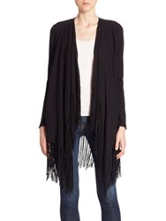 Ella Moss Bianca Fringed Wool And Cashmere Blend Cardigan Black
