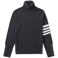 Thom Browne Classic Cashmere Roll Neck Knit Grey