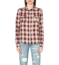 Paige Mya Checked Cotton Shirt Dusty Brown Scarlet