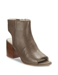Kenneth Cole Charlo Leather Open Toe Booties Truffle