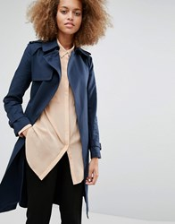 Warehouse Clean Belted Trench Navy