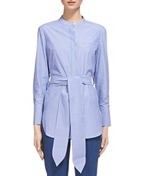 Whistles Lara Belted Pinstripe Shirt Blue Multi