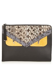Fendi Crayons Bag Bugs Crocodile And Snakeskin Pouch Black Multi