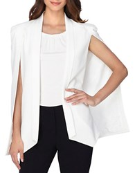 Tahari By Arthur S. Levine Shawl Collar Open Cape Jacket Ivory