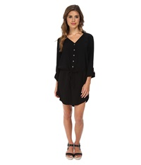 Michael Stars Modern Rayon Three Quarter Sleeve Shirt Dress Black Women's Dress