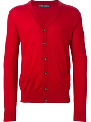 Dolce And Gabbana V Neck Cardigan Red