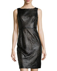 Muse Crystal Pleated Faux Leather Combo Swirl Dress Black