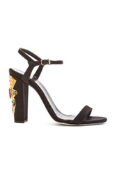Oscar De La Renta Lemmy Satin And Crystal Sandals In Black