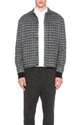 Stephan Schneider Triple Windowpane Print Shirt Jacket In Gray Checkered And Plaid