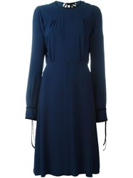 Msgm Back Keyhole Detail Dress Blue