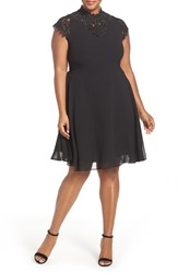 City Chic Plus Size Women's 'Poser' Lace Detail Chiffon Overlay Fit And Flare Dress
