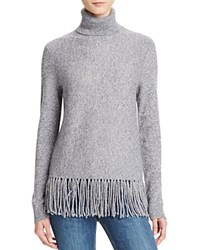 Aqua Cashmere Fringe Trim Turtleneck Cashmere Sweater Heather Grey White Twist