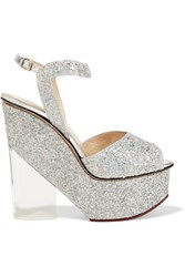 Charlotte Olympia Leandra Glittered Leather And Perspex Wedge Sandals Silver