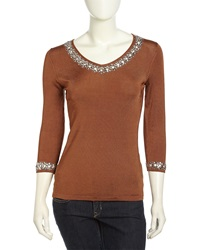 Michael Simon Three Quarter Eyelet Sequined Stretch Knit Sweater Brown