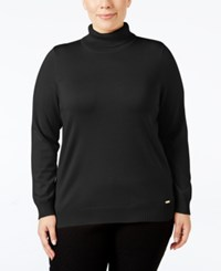 Calvin Klein Plus Size Turtleneck Sweater Black