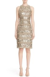 Carmen Marc Valvo Women's Panel Detail Sleeveless Lace Sheath Dress