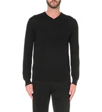 Armani Jeans V Neck Knitted Jumper Nero