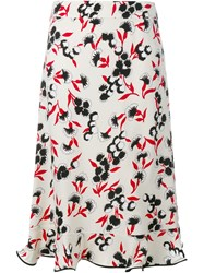 Marni Floral Print Frill A Line Skirt Nude And Neutrals