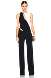 Thierry Mugler Mugler Bi Color Fitted Cady Jumpsuit In Black White