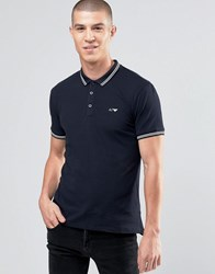 Armani Jeans Polo Shirt With Tipping In Slim Stretch Fit Black Black