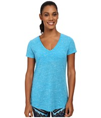 Alo Yoga Deep V Neck Shirt Seaport Blue Marble Women's Short Sleeve Pullover