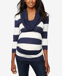 A Pea In The Pod Maternity Cowl Neck Sweater Navy White Stripe