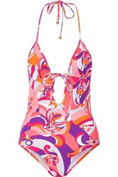 Emilio Pucci Cutout Printed Swimsuit Pink