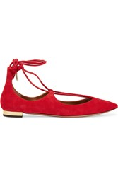 Aquazzura Christy Suede Point Toe Flats Red