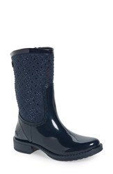 Posh Wellies Women's 'Cerussite' Crystal Embellished Rain Boot Navy Fabric
