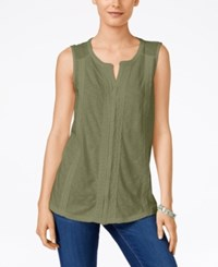Styleandco. Style And Co. Petite Sleeveless Swiss Dot And Crochet Top Only At Macy's Olive Sprig