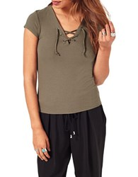 Miss Selfridge Lace Up Rib Tee Green