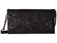 Rebecca Minkoff Glitter Cleo Wallet On A Chain Black Wallet Handbags