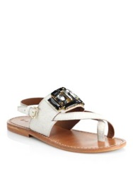 Marni Jeweled Calf Hair Toe Ring Sandals Natural White