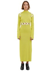 Proenza Schouler Long Lace Up Roll Neck Ribbed Dress Yellow