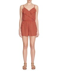 1.State Floral Print Flounce Romper Red Salsa