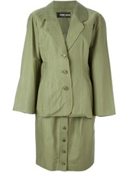 Fendi Vintage Pinstripe Skirt Suit Green