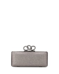 Diane Von Furstenberg Sutra Mini Metallic Clutch Bag Pewter
