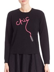 Milly Cashmere Chic Intarsia Sweater Black