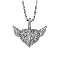 Jools By Jenny Brown Sterling Silver Pave Heart Pendant Rhodium