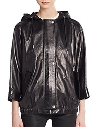Alexander Wang Leather Hooded Parka Liquorice