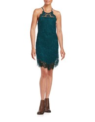 Free People Shes Got It Scalloped Lace Slip Dress Turquoise
