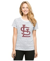 '47 Brand Women's St. Louis Cardinals Sparkle Stripe T Shirt Navy White