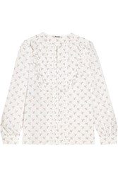 Miu Miu Ruffle Trimmed Printed Cotton Blouse White