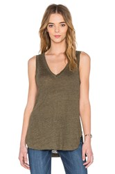 Heather Linen V Neck Tank Olive