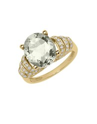 Lord And Taylor 14K Yellow Gold Green Amethyst Diamond Ring