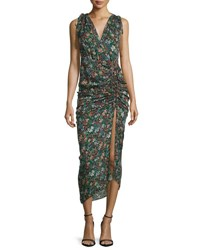 Veronica Beard Teagan Fall Garden Printed Silk Midi Dress Black Multicolor Black Multi